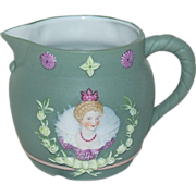 1890's Small German Jasperware Spouted Pitcher Queen Elizabeth l