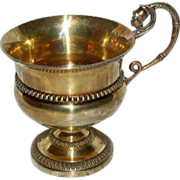 Wonderful French Silver Gold Vermeil Cup w/ Warrior wearing Helmet on Handle