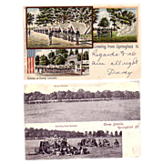 Pair of Postcards Camp Lincoln Springfield Illinois