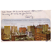 """Postcard """"Panoramic View  of High Buildings in St. Louis Missouri"""""""