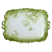 1890's Rosenthal Dresser Tray decorated with Green Hydrangea's / Snowballs