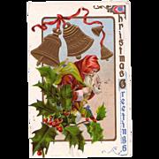 Christmas Postcard Old Santa & Christmas Holly