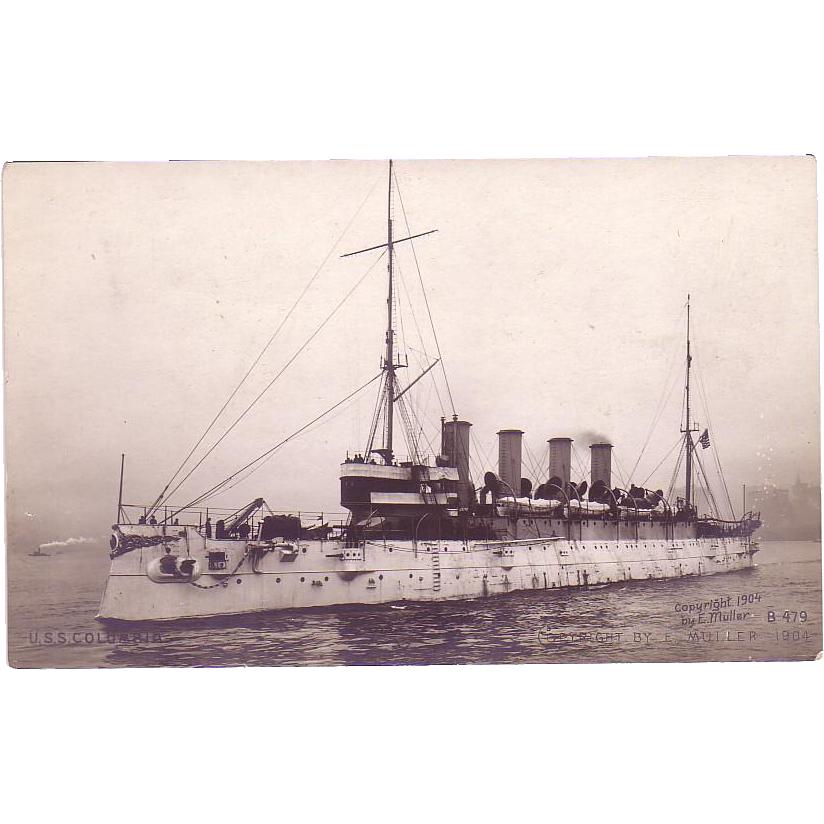 "RPPC Postcard with Photographic Image of ""USS Columbia"""