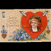 Germany Valentine Postcard w/ Boy on Red Heart