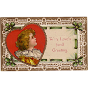 """Lacy & Green Ribbon Valentine Postcard with """" Girl's Portrait in Red Heart """""""