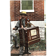 "Postcard ""Street Organ Grinder with a Monkey"""