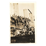"RPPC ""USS Benham with a Deck View of 35 Sailors"" in Photograph"
