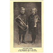 "Postcard of  (2) Children "" Our Band Babies "" with Musical Horns"
