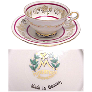Great Bavarian Mitterteich Demitasse Cup & Saucer with Scene of Couple & Cupid