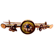 Victorian 1880's Gold Filled Bar Pin w/ Seed Pearls & Blue stone