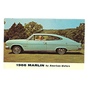 "Advertising Postcard ""1966 Marlin Automobile by American Motors"""