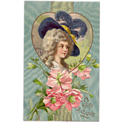 """Postcard w/ Gainsborough Lady in a Heart and has the words """"A Gift of Love """""""