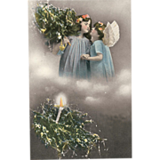 """SOLD Holiday Postcard of """" Two Christmas Angels """""""