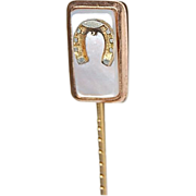 GF Stick Pin with Mother of Pearl & Horse Shoe