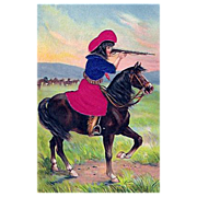 "Postcard ""Cowgirl on Horseback with Rifle"""