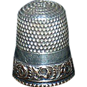 Sterling Sewing Thimble with a Fancy Decorative Gold Band*