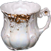 1890's Fancy Decorated Porcelain Shaving Mug w/ Pearlized Finish