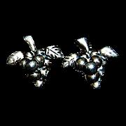Pair of Grape Custer's Motif Mexican Sterling Earrings