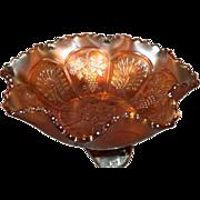 "Old Carnival Fenton Glass Marigold Peacock & Grapes Footed Medium 7 3/4"" Bowl"