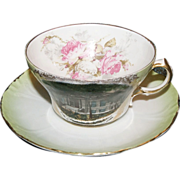 """Early 1890's Souvenir Cup & Saucer of """" Public Library, Hutchinson, Minn. """""""