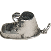 "(1) Sterling Silver Charm for Charm Bracelet ""Baby Shoe"""
