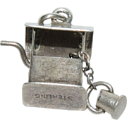 "Sterling Silver Charm for a Charm Bracelet of a "" Wishing Well "" with a little Bucke"