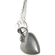 "Sterling Silver Charm for a Charm Bracelet of a ""Sweetheart's Heart & Key """