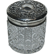 English Silver Sterling Top w/ Cut Glass Dresser Jar