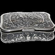 Fancy Romantic Scene Silver German Snuff Box