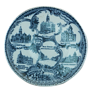 "Blue & White Souvenir Plate of ""Wichita, Kansas"""