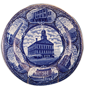 "Blue & White Historical Souvenir Plate of ""Historic Boston Mass."""