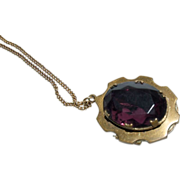 Antique Gold Plated Locket & Chain with a Faceted Amethyst Glass Stone