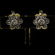 Older style Wire-Wound Silver Flower Screw on Earrings