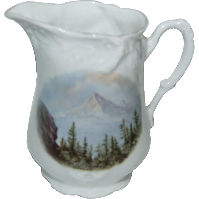 "1890's - 1900's Souvenir Pitcher of ""Mt. Hood Portland Oregon """