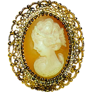 1940's Carved Shell Cameo Brooch  in Sterling Fancy Pierced Bezel
