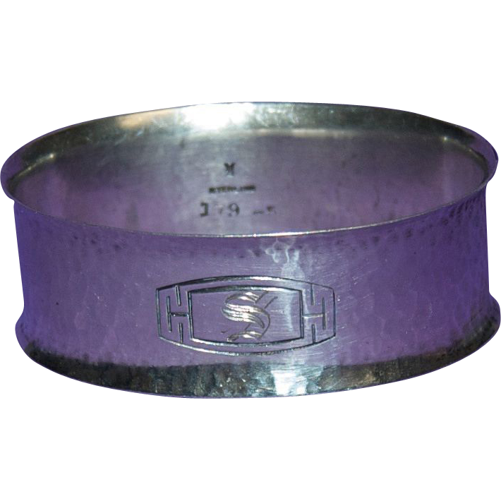 """Sterling Silver Napkin Ring """"Hammered Arts & Crafts"""" San Juan Pattern 1914 by R. Wallace Silversmiths"""