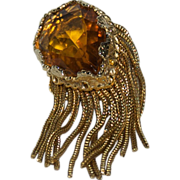 1930's - 1940's Beautiful Huge Tear Drop Shaped faceted Topaz Colored Stone / Glass Dress Pin