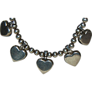 Mexican Sterling Silver Beaded Necklace w/ 5 Sterling Hearts