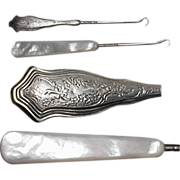 1890's - 1900's Antique Buttonhooks / (1) One Sterling & 1 One Mother of Pearl
