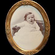1900's Fancy Brass Photograph Oval Frame