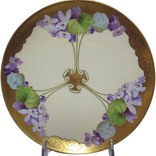 """circa 1912 - 1918 Period 8 1/2"""" Hand Plated Pickard Plate in Violet Supreme pattern"""