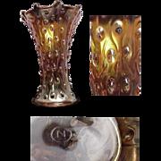 Signed Northwood Marigold Carnival Glass Vase