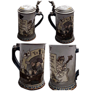 "Fine Etched # 2090 Mettlach Club Stein ""Woman and the Tavern"""