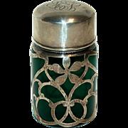 Sterling Silver Overlay Smelling Salts Bottle w/ Dark Green Glass & Sterling Cap
