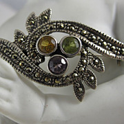 Vintage Sterling Silver Elegant Pin Brooch Multi Color Stones