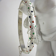 Vintage Sterling Silver Bangle Bracelet Multi-Color Stones