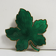 Vintage Sterling Silver & Green Enamel Maple Leaf Brooch Pin Denmark