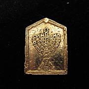 Vintage Gold Tone Jewish Menorah Pin Brooch Pendant 1981