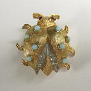 Vintage West Germany Ladybug Pin Brooch by Elfa