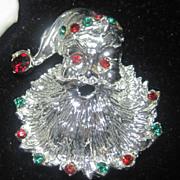 Vintage Silver Colored Santa Claus Brooch Pin